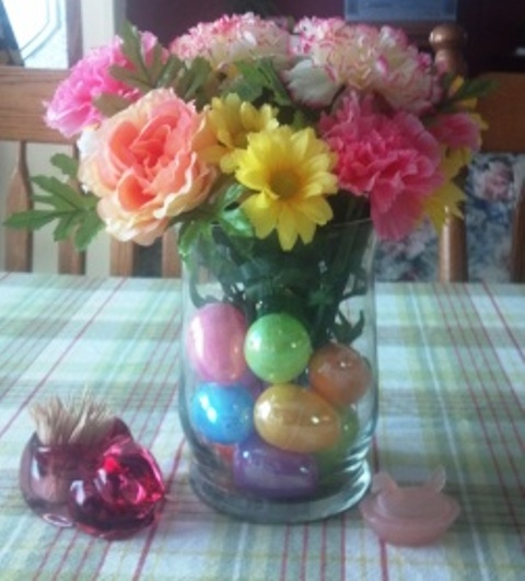 Easter egg bouquet. Flowers, eggs and vase from Walmart. Total cost less than $10.00