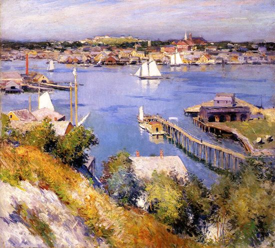 The Athenaeum - Gloucester Harbor (Willard Leroy Metcalf - 1895)