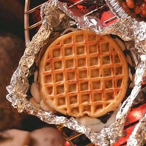Campfire waffle sandwiches. This recipe is for the smore version but it would be great with anything in between.