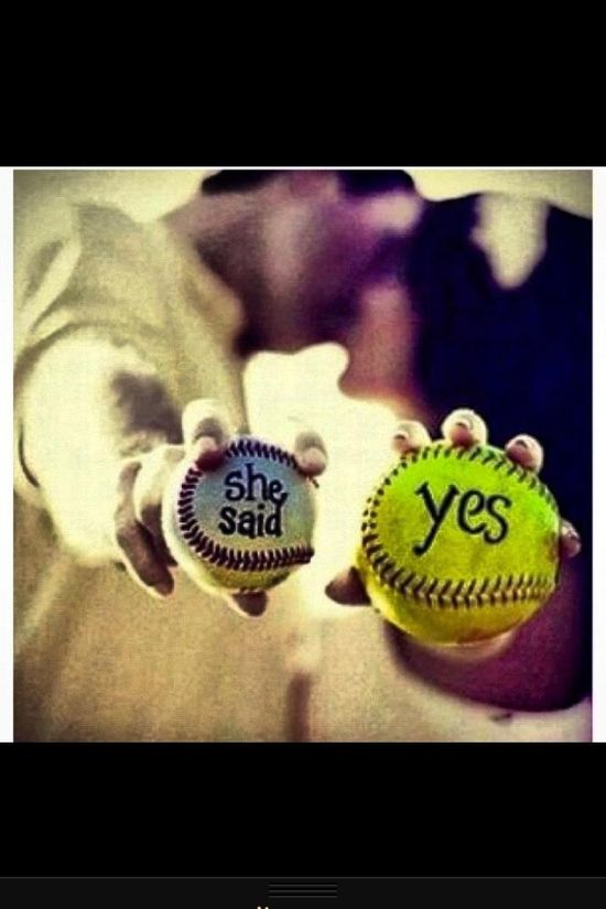 such an adorable idea for a softball/baseball wedding picture.