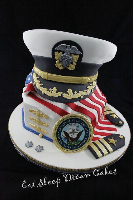 #KatieSheaDesign ??? US Naval Officer's Cake #VeteransDay
