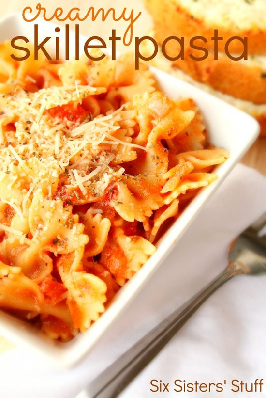 Creamy Skillet Pasta Recipe - you can add whatever protein to go with.