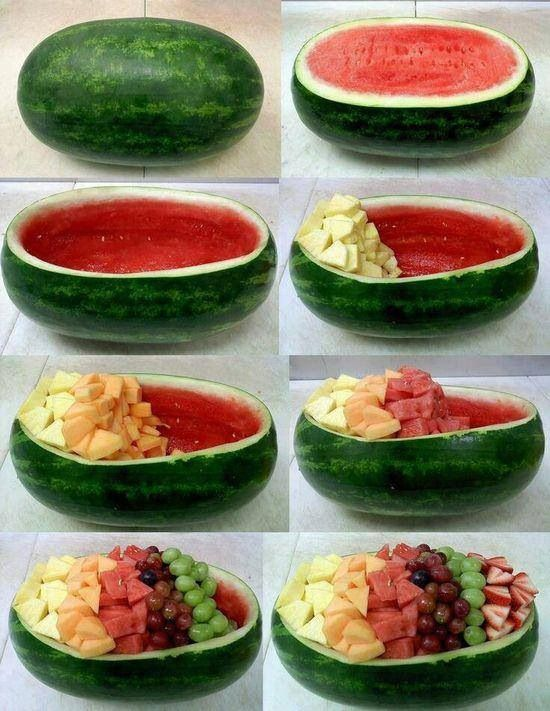 Cool idea! It looks good too! Cut a watermelon in half than use one half and take out all the red part and take the other part and cut little cubes out of it. Than cut up pineapple, cantaloupe, watermelon, purple grapes, green grapes and strawberries and put them in the watermelon.