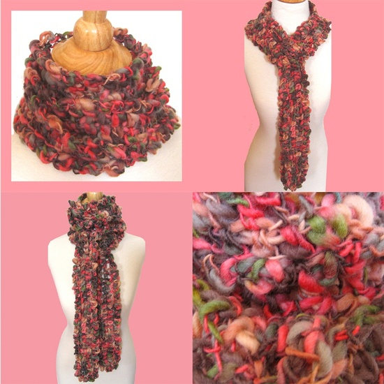Pink Peony #Crochet #Scarf / Silk and Wool Tweed #Mother's_Day_Gift