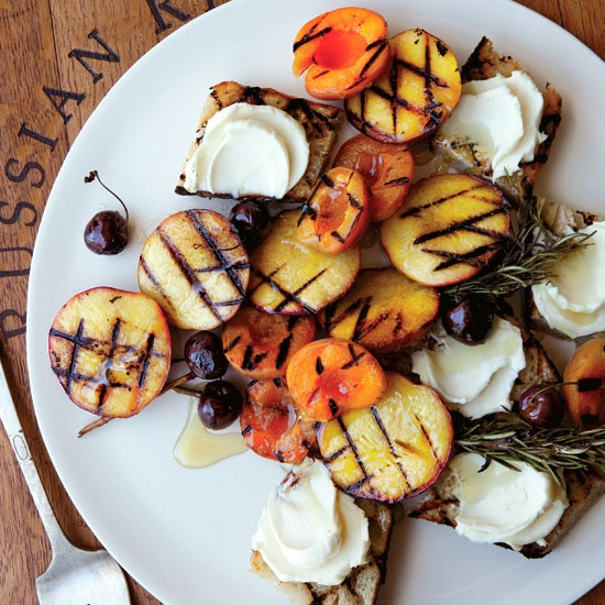 Grilled-Fruit Bruschetta with Honey Mascarpone // More Fabulous Grilled Desserts: www.foodandwine.c... #foodandwine #fwpinandwin