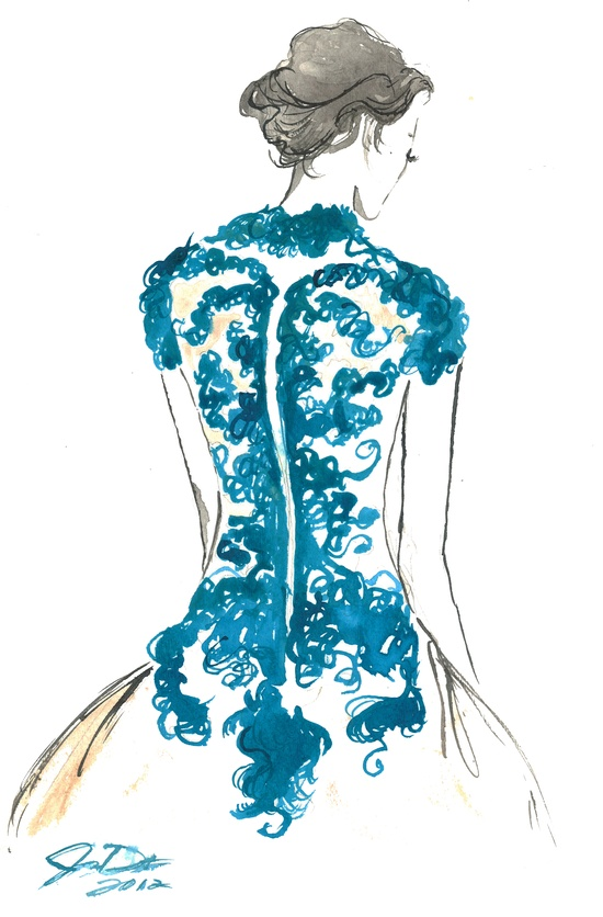 Quick painting of a Marchesa dress. #watercolor by Jessica Durrant titled Backstage.