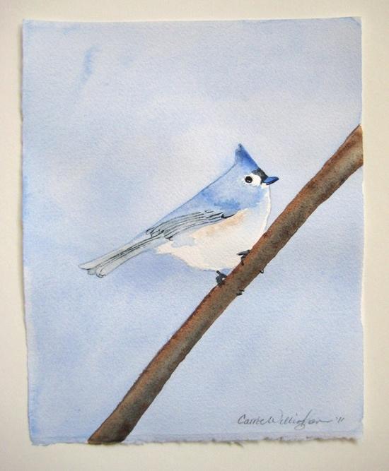 Bluebird watercolor painting