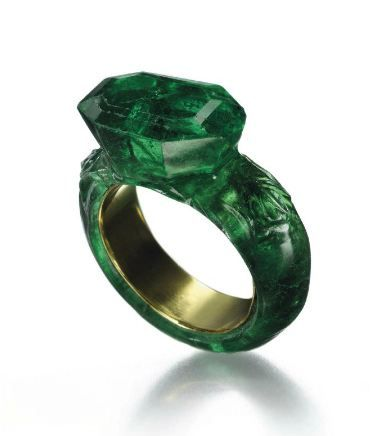 Ring cut from a solid piece of emerald.