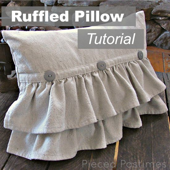 DIY: Ruffled Pillow Tutorial...I love the cottage feel to this!