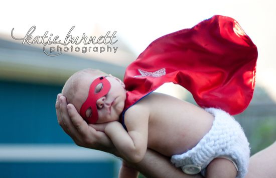 Newborn Superhero MASK and CAPE set - Reversible Personalized BENDABLE Photography Prop for Infant and Baby. $40.00, via Etsy.