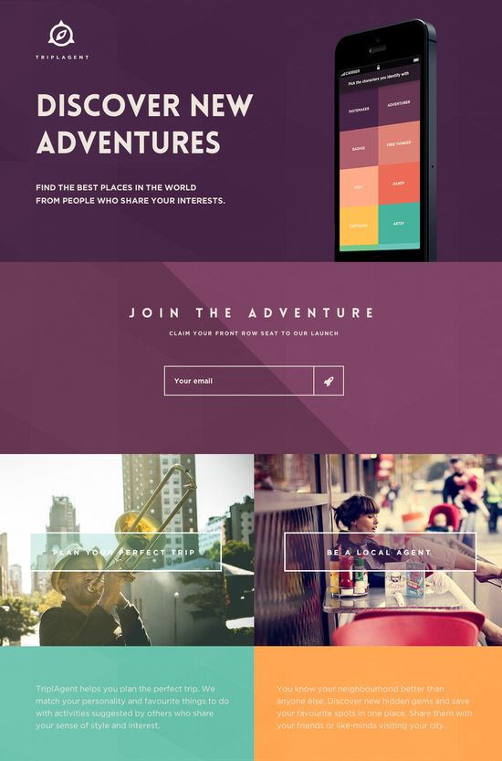 Beautifully designed launching soon page filled with color for TriplAgent - an upcoming app to help you plan the perfect trip.