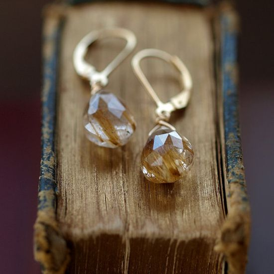 Golden Rutilated Quartz Earrings Gold Filled by ShopClementine, $54.00