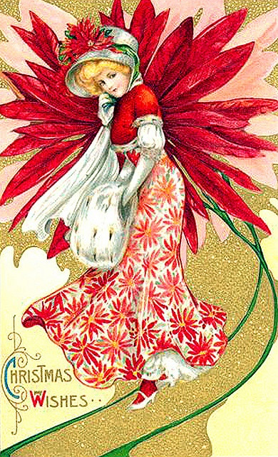Lovely Poinsettia Lady--Vintage Christmas Postcard - how lovely