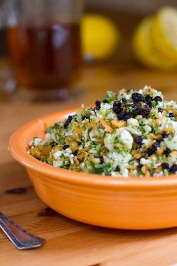 """""""Detox Salad"""" Broccoli, cauliflower, carrots, sunflower seeds, raisins/currants, parsley, lemon juice, salt"""