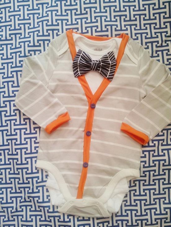 Baby cardigan onesie for boy or girl