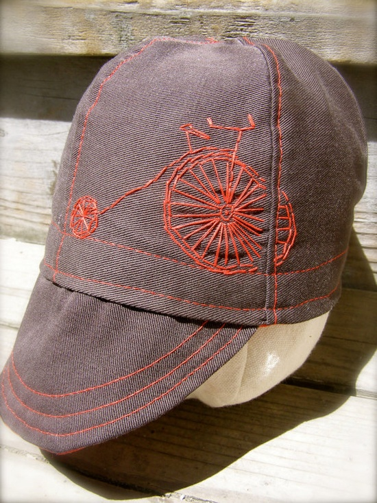 Cute Baby Cap with Bike Embroidery. Great colors too!