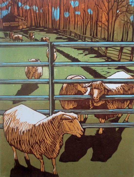 Sheep woodbluck print by edamamepress