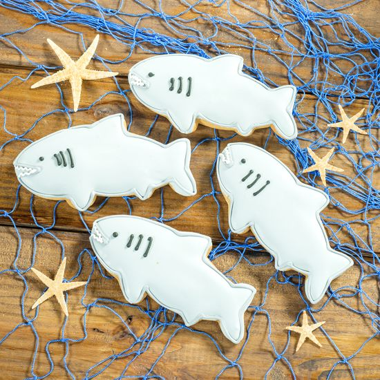 #Shark Decorated Cookies are vanilla flavored, shark shaped cookies.