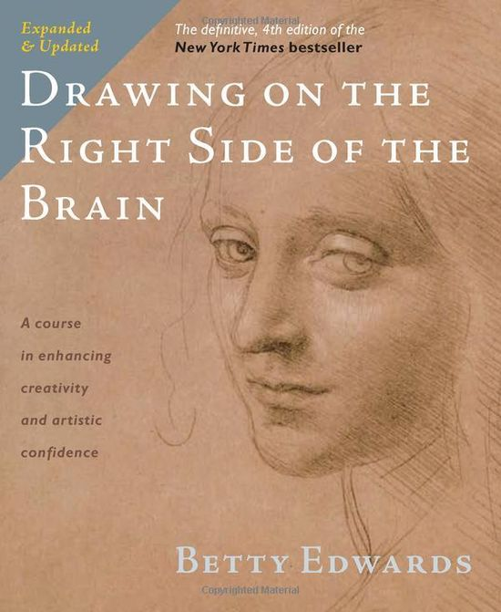 Drawing on the Right Side of the Brain: The Definitive, 4th Edition by Betty Edwards: A book about perception, drawing as perceptual training to improve creative thinking.  #Books #Creativity #Drawing #Betty_Edwards