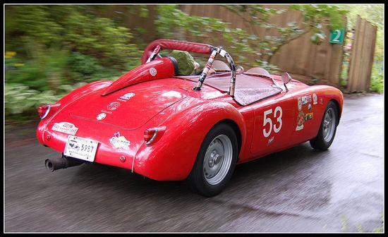 Red MGA Race Car