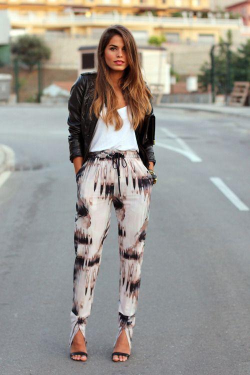 printed pants, white tee, blazer