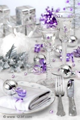 silver and purple christmas table