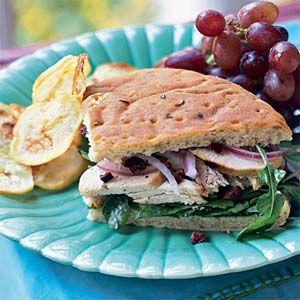 Chicken-Arugula Focaccia Sandwiches from MyRecipes.com #protein #grain #myplate