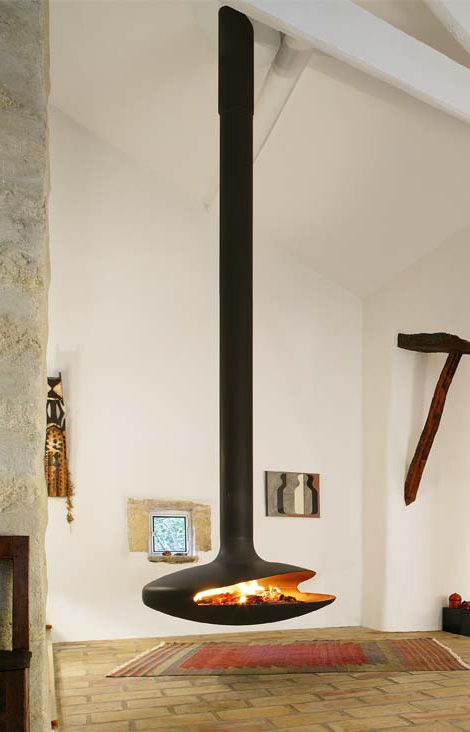 Voted 'World's most beautiful object' in the Italian Pulchra Design Awards 2009, Gyrofocus is also the world's first ceiling suspended fireplace that rotates 360°. Designed and made by a small company in the south of France, Atelier Dominque Imbert, this fireplace can easily handle very high ceilings or high vaulted ceilings. First created in 1967, this design has become an international classic and the symbol of the Focus brand by Atelier Dominque Imbert.