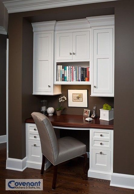 Desk area for the kitchen.  Beautiful love the white cabinets..like the chair.
