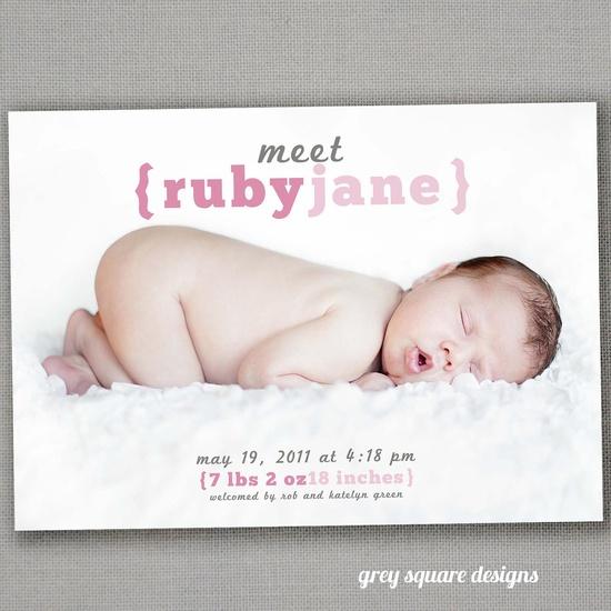Meet Baby Photo Baby Announcement
