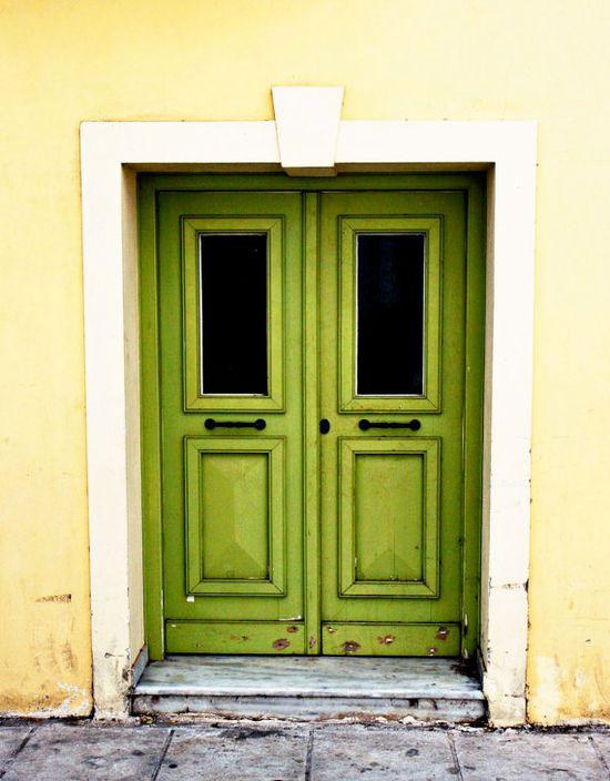 Door Art - Green Door in Athens - Greece Photograph - Lime Kiwi - Mediterranean Home Decor