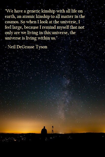 the universe is living in us.