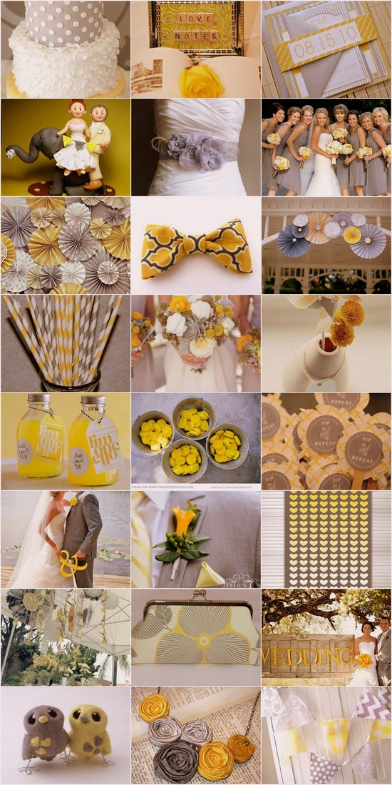 Yellow and Grey Wedding Theme - Wedding decor, stationary, bridal looks and your wedding eats, drinks and treats - Be inspired by our collection of Yellow and Grey wedding ideas! #yellow #grey #wedding #theme