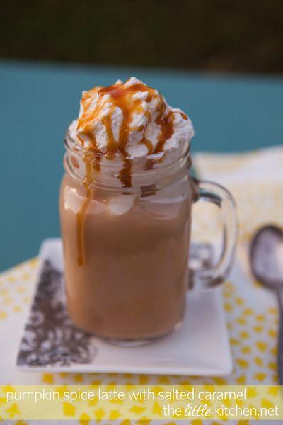 Pumpkin Spice Latte with Salted Caramel via The Little Kitchen >> #WorldMarket Dreaming of Desserts
