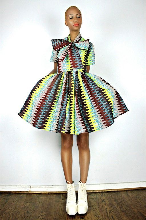 The Minnie Bell- African Print  100% Holland Wax Cotton Dress. $175.00, via Etsy.