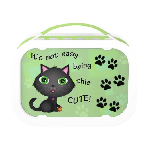 Funny Cute Cat Yubo Lunch Box #cute #lunchbox #cats #zazzle #jamiecreates1