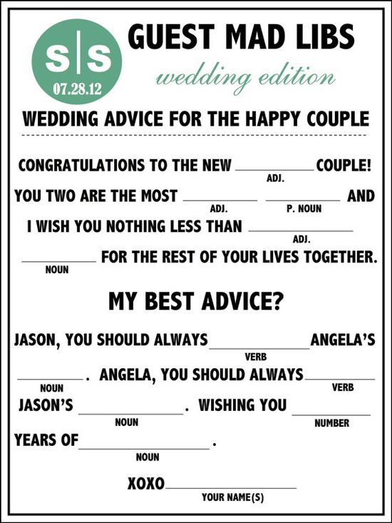 Fun Unique Wedding Mad Libs