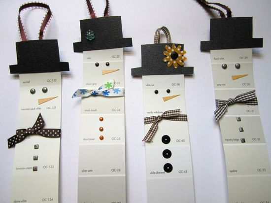 paint chip snowman ornaments {would be cute bookmarks}