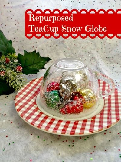 DIY Gift Idea: Easy Tea Cup Snow Globe #DIY #giftidea #Christmas #decoration