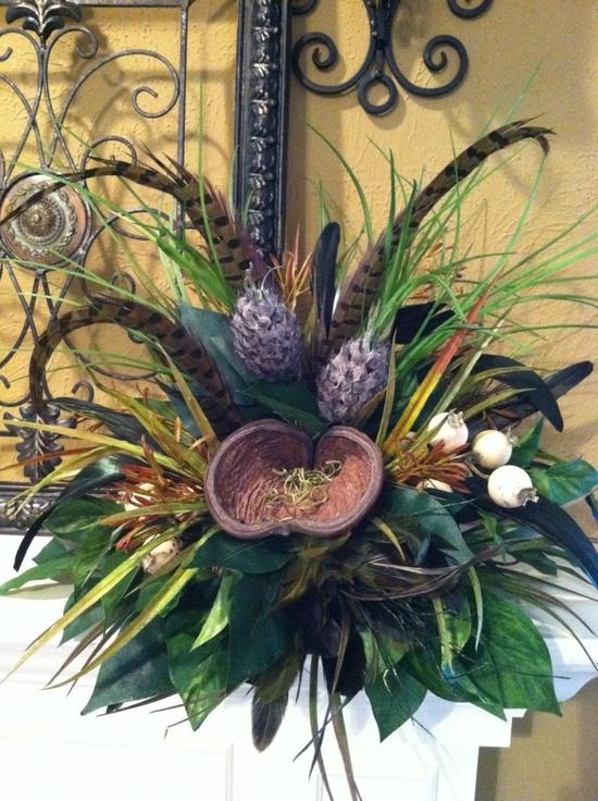 Pods & Feathers Silk Floral Arrangement Tile by GreatwoodFlorals