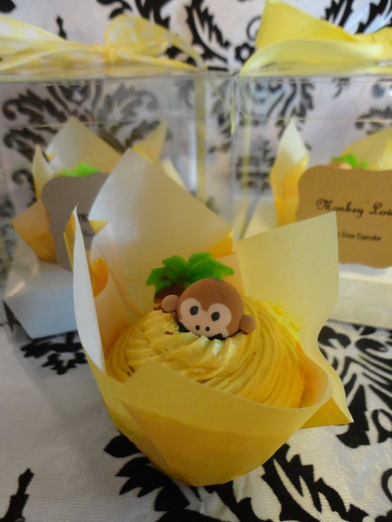 Monkey Love Soap Cupcake for the Monkey Luva. $10.00, via Etsy.