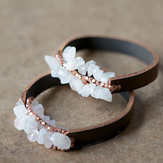 DIY Gift: Boho Leather and Crystal Bracelets.