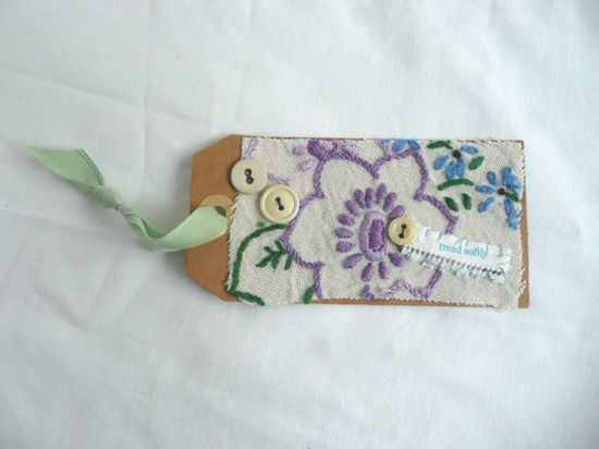 Textile art tag  hand made gift tag mixed by elizabethkelley1, $10.00
