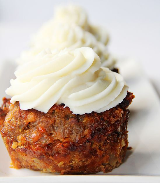 """BBQ Bacon Cheddar Meatloaf """"Cupcake"""" with Mashed Potato Icing -Momo"""