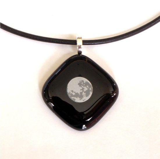 Moon Fused Glass Pendant Necklace on Black by GreenhouseGlassworks, $20.00