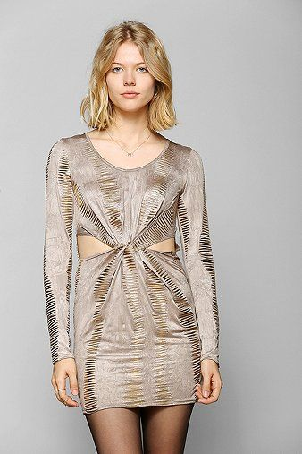 party dress with cutouts in metallic