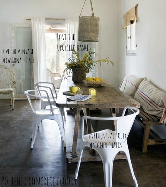Rustic Dining Room ( I soooo want a recycled wood table and White chairs for our next dining room)