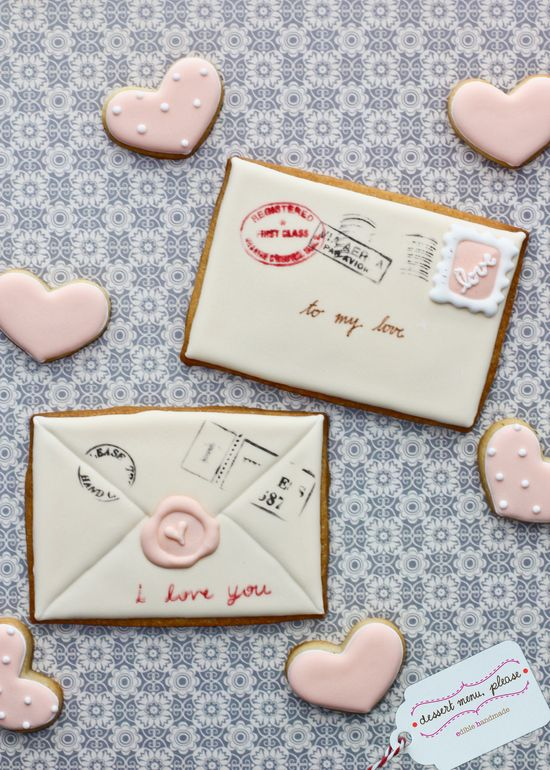 love letter cookies. now THESE are sugar cookies i could get into....