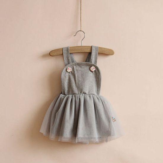 1,2,3,4,5T baby girl dress toddler girl dress uspender skirt  girl clothes spring fall dress outwear GRAY