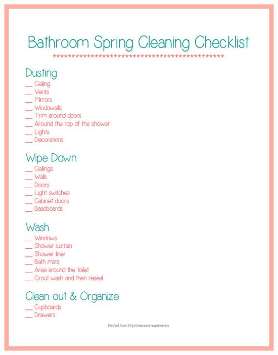 Spring Cleaning tips for the bathroom and a FREE printable - Ask Anna